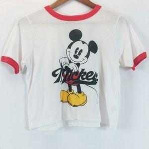 Disney Mickey Mouse Design Short Sleeve Crop Top